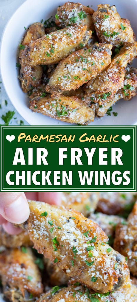 Air fryer chicken wings are served with parmesan in white bowl.
