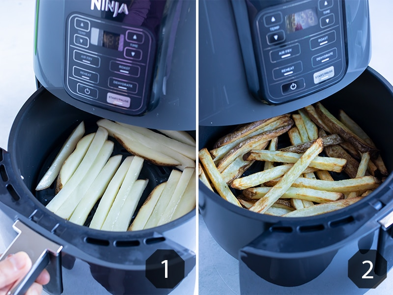 Instructional photos show how to cook homemade french fries in Ninja air fryer.