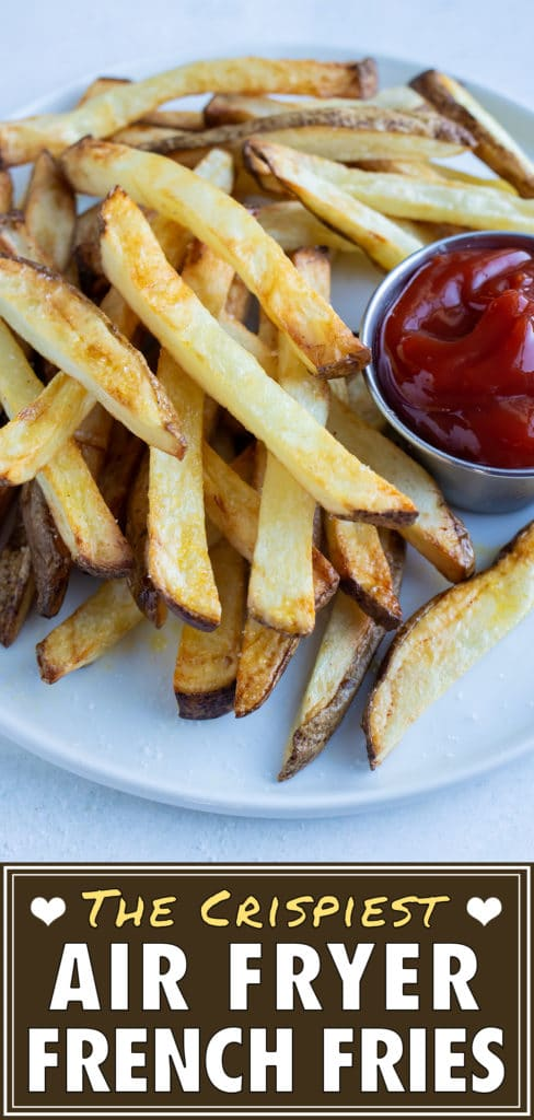 Crispy homemade french fries made in the air fryer are served with ketchup.
