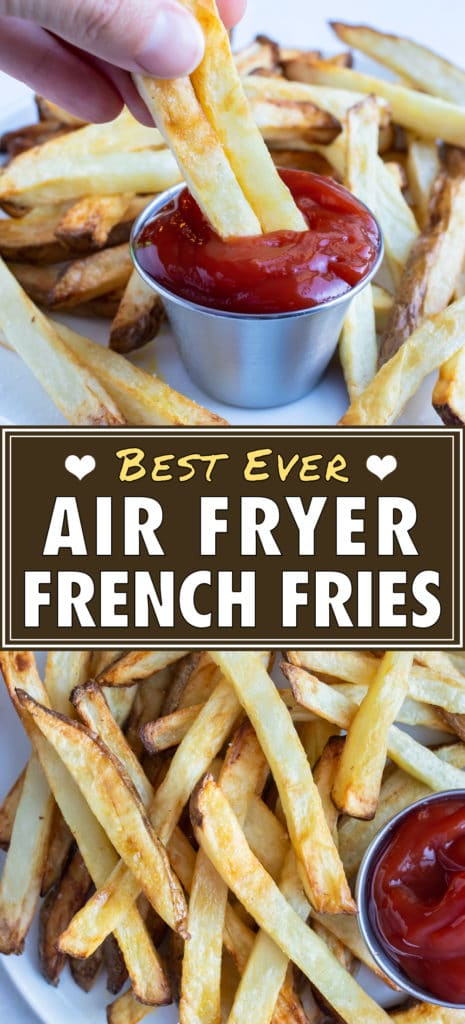 A hand picks up homemade french fries for a side.
