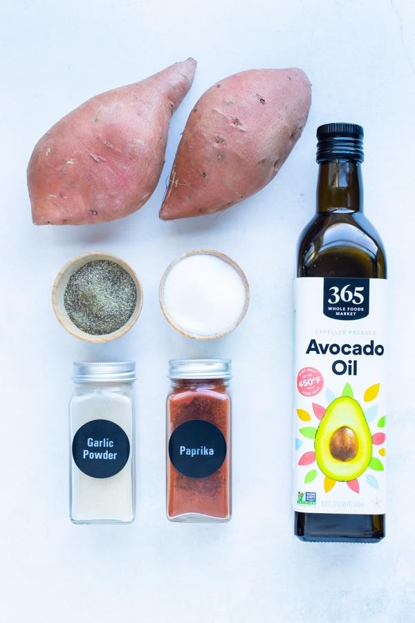 Oil, salt, pepper, seasonings, and sweet potatoes are the ingredients used.