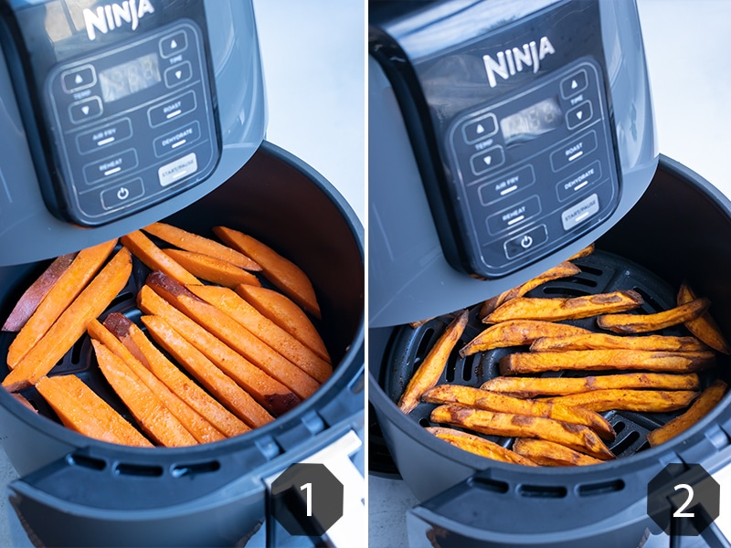 Instructional pictures for how to make sweet potato fries in your air fryer.