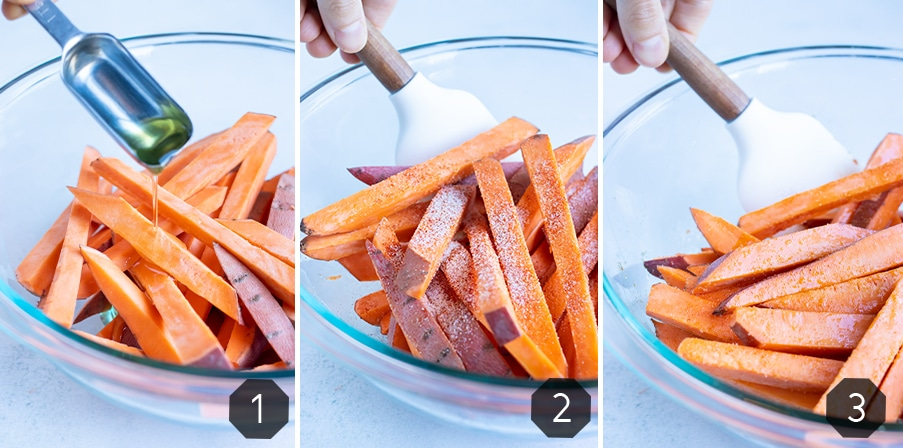 Instructional pictures for how to make healthy Air Fryer Sweet Potato Fries.