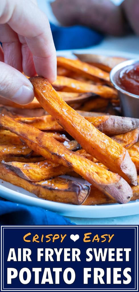 Air fryer sweet potatoes are eaten as a healthy finger food.
