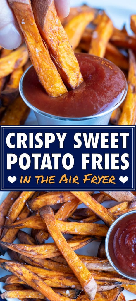 Air fryer sweet potato fries are served on a plate with ketchup.