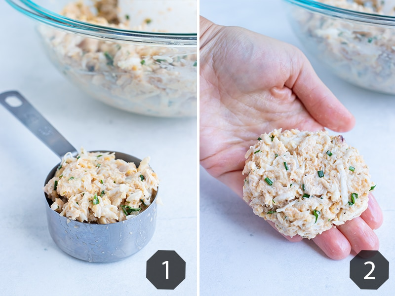 Instructional pictures for making Maryland crab cakes.