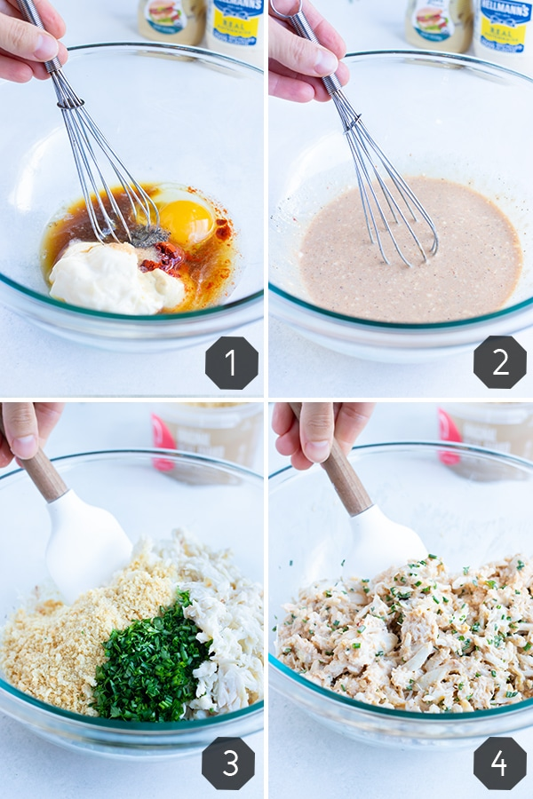 Step by step pictures for how mix ingredients for gluten-free crab cakes.