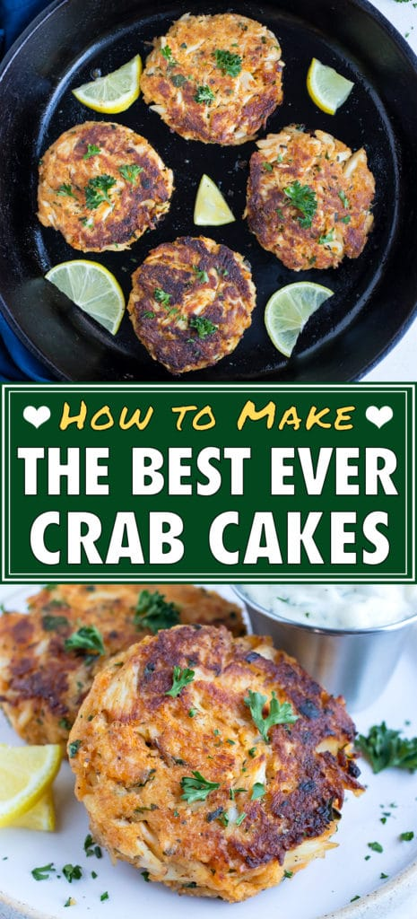 Seared crab cakes are served as a low-carb appetizer.
