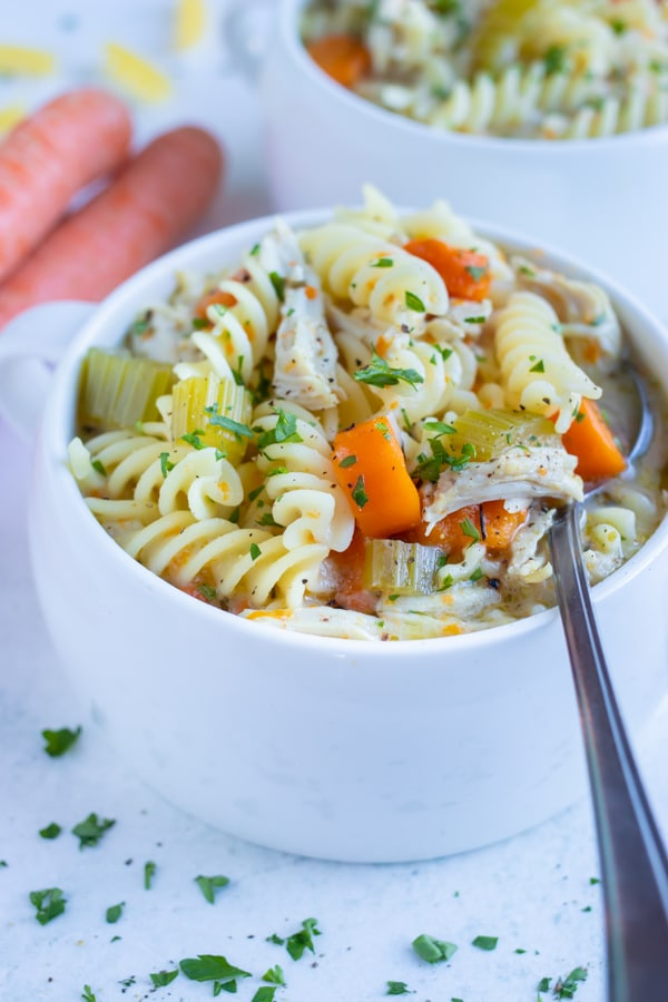A white bowl is loaded with a healthy chicken noodle soup.