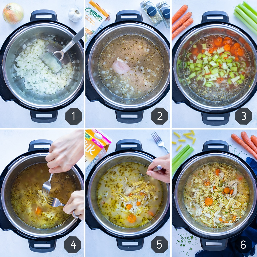 Instructional pictures for how to make instant pot chicken noodle soup.