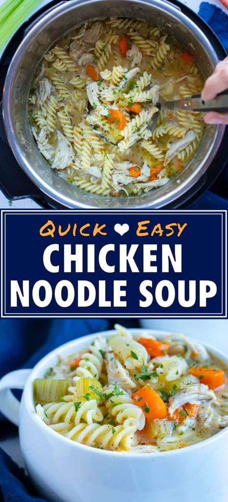 Instant pot chicken noodle soup is served in a white bowl for dinner.