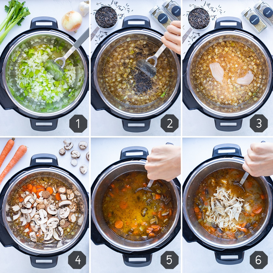Instructional pictures show how to make instant pot chicken wild rice soup.