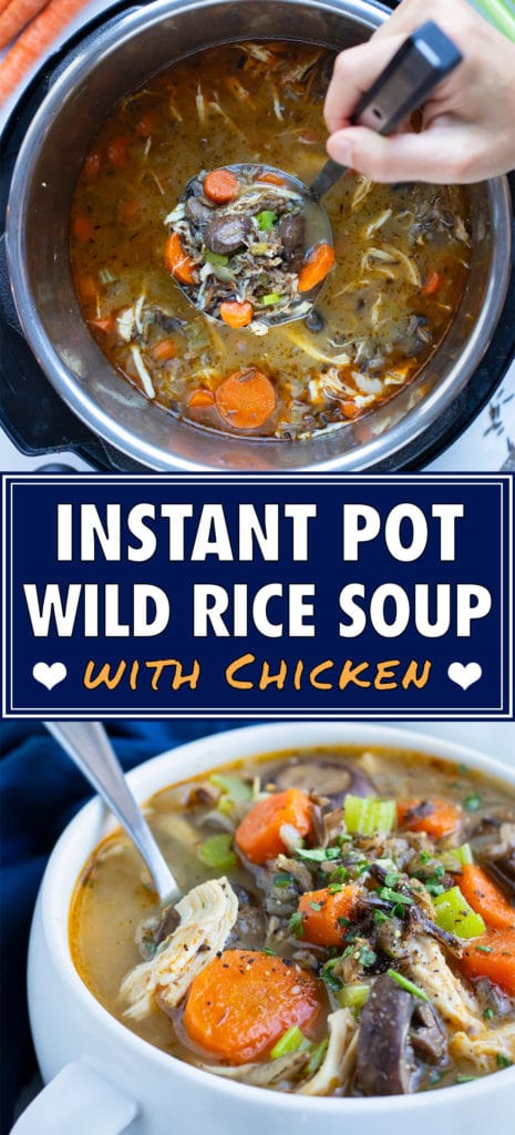 Chicken wild rice soup is cooked in a pressure cooker for a quick and easy meal.