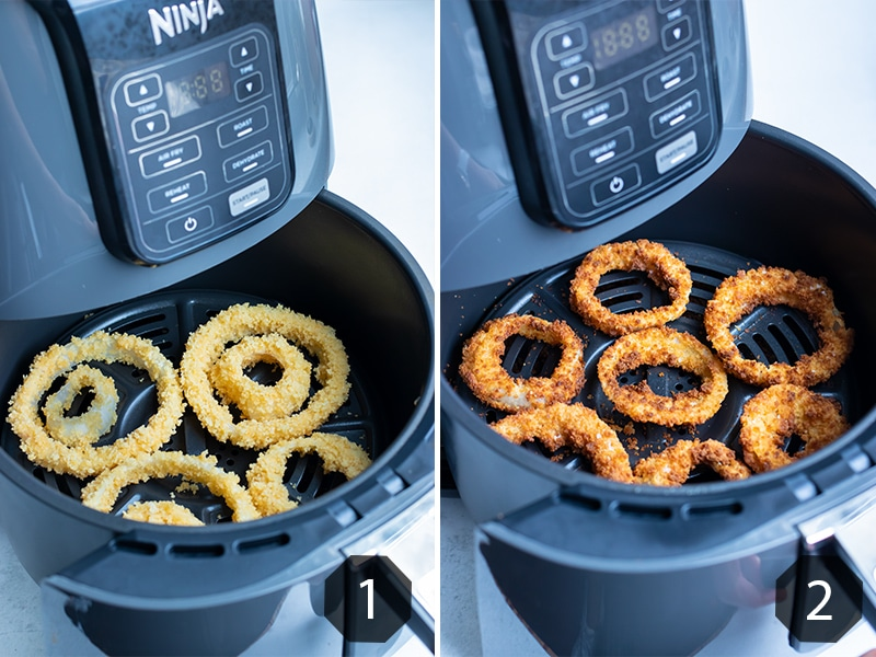 Instructional pictures showing how to make this air fryer onion rings recipe with a Ninja Air Fryer.