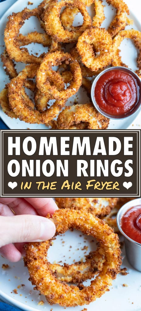 Ultra crispy onion rings are served as an appetizer on a white plate.