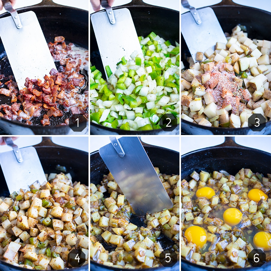 Step by step pictures for how to make breakfast hash with eggs.