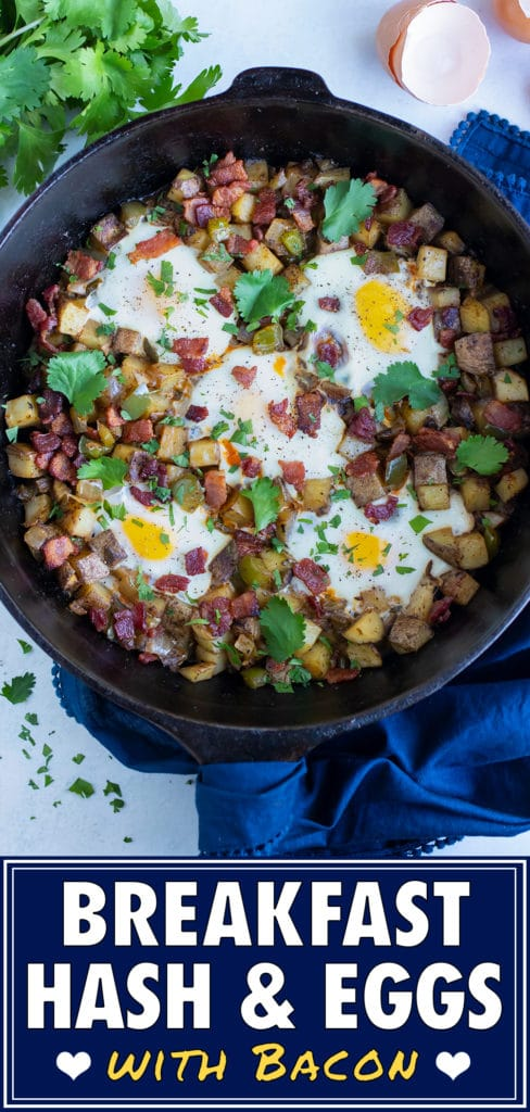 Potato hash is served on the counter for brunch.