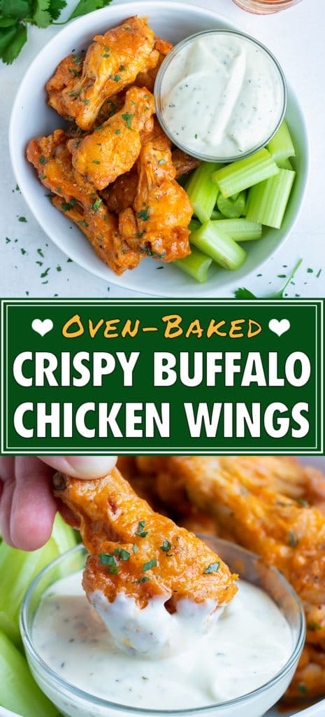 Easy buffalo chicken wings are picked up as a healthy finger food.