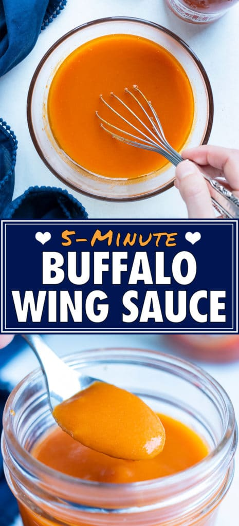 Homemade buffalo sauce is made in just a few minutes for an easy, spicy sauce.