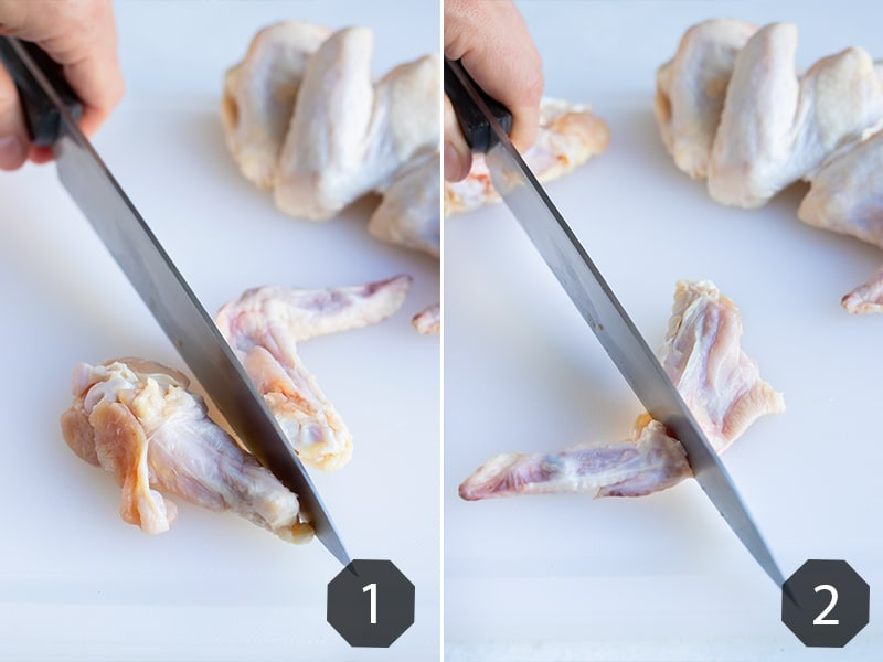 Step by step pictures showing how to cut chicken wings.