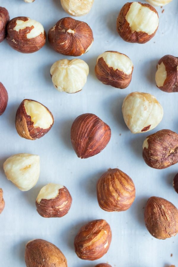 Raw hazelnuts are quick and easy to roast in the oven.