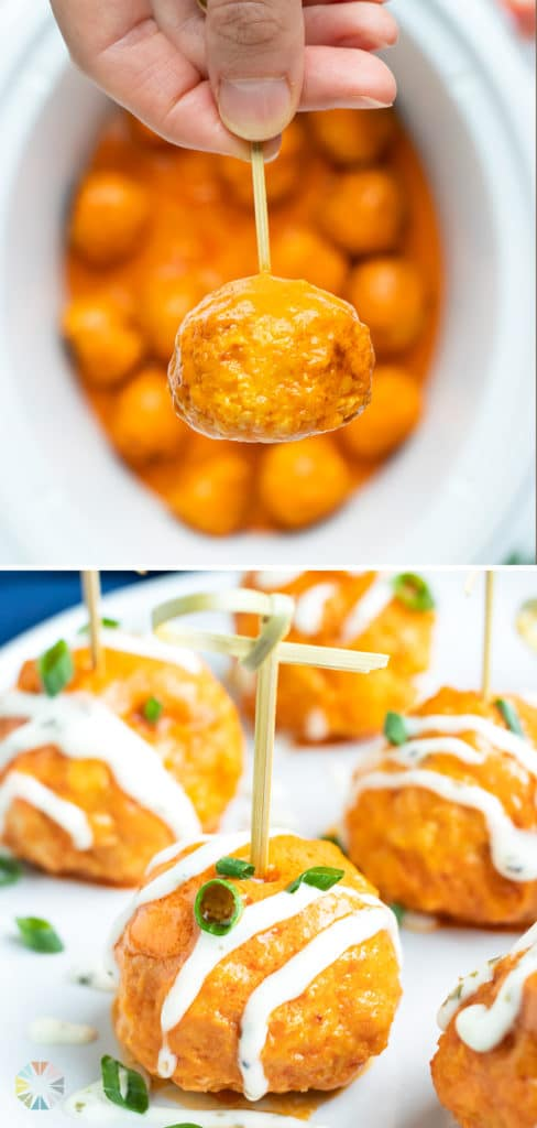 Buffalo chicken meatballs with a drizzle of ranch dressing on an appetizer plate.