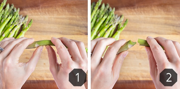Step by step photos for how to snap aspargus with your hands.