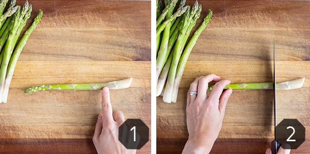 Step by step pictures for how to prepare fresh asparagus