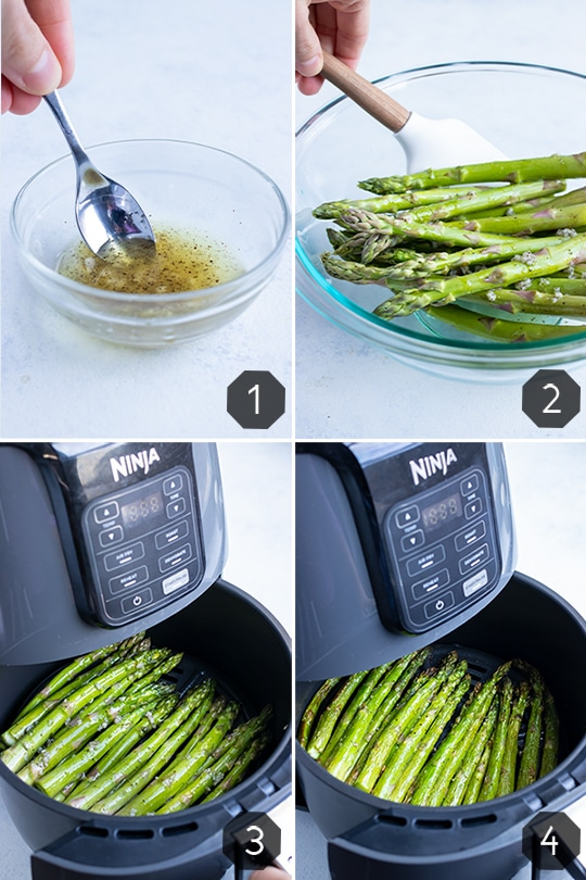 Instructional pictures for how to make air fryer asparagus