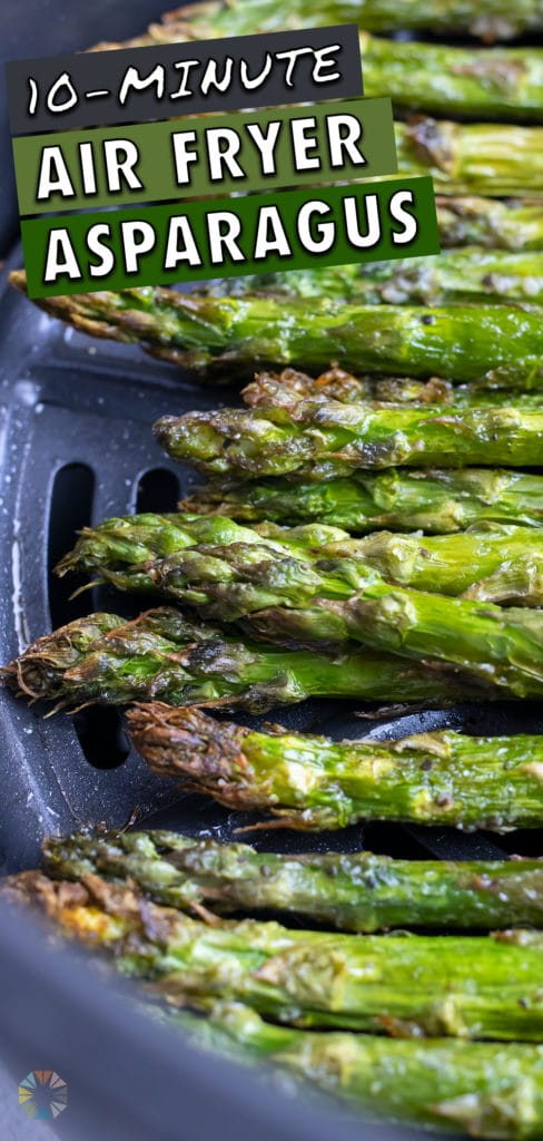 Asparagus in the air fryer is laid in one layer.