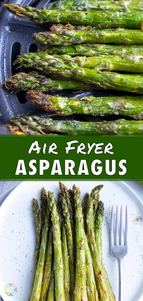 Crispy asparagus made in the air fryer is served for dinner.
