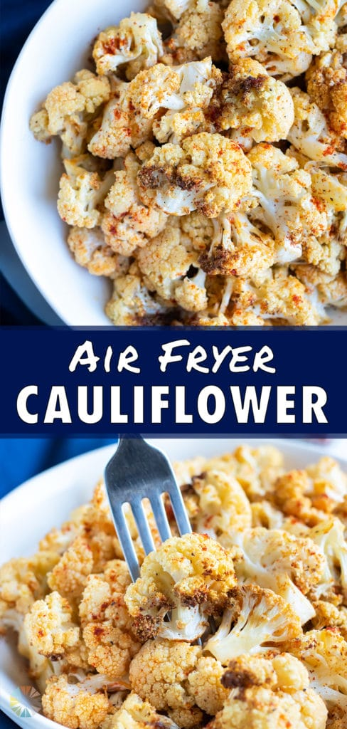 Easy air fryer cauliflower is placed in a white bowl.