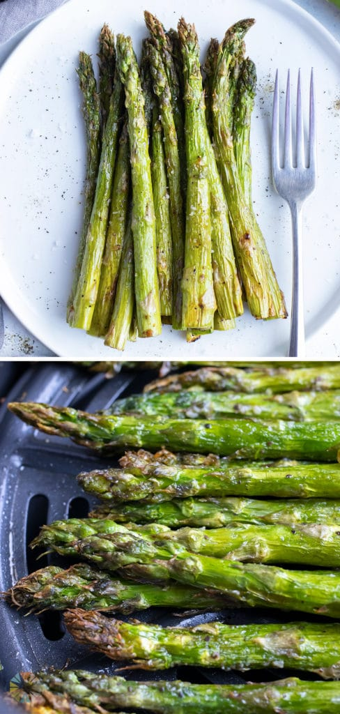 Air fryer asparagus is a crispy