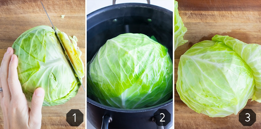 Instructional pictures for how to prepare the cabbage.