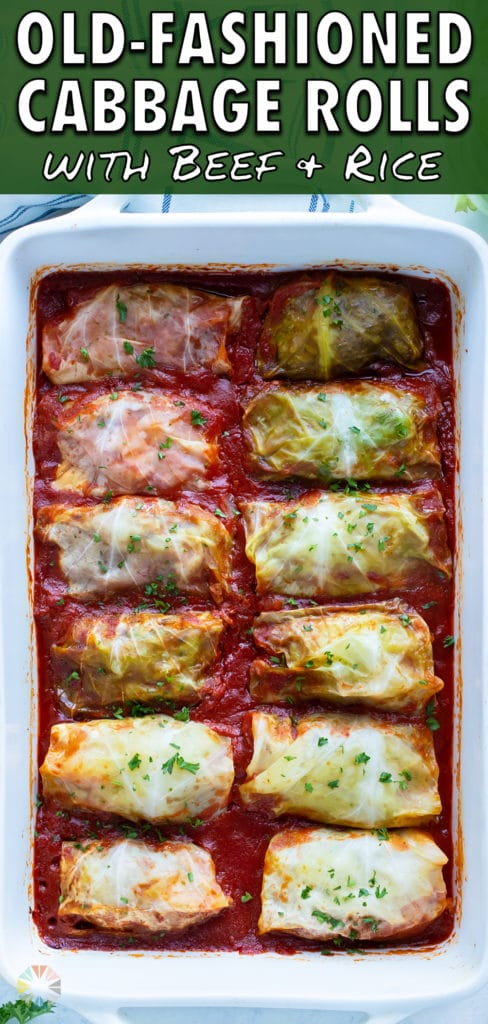 Cabbage Rolls are served in a 9x13 casserole dish.