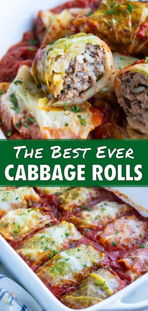 The best cabbage rolls are served from a pan on the counter.