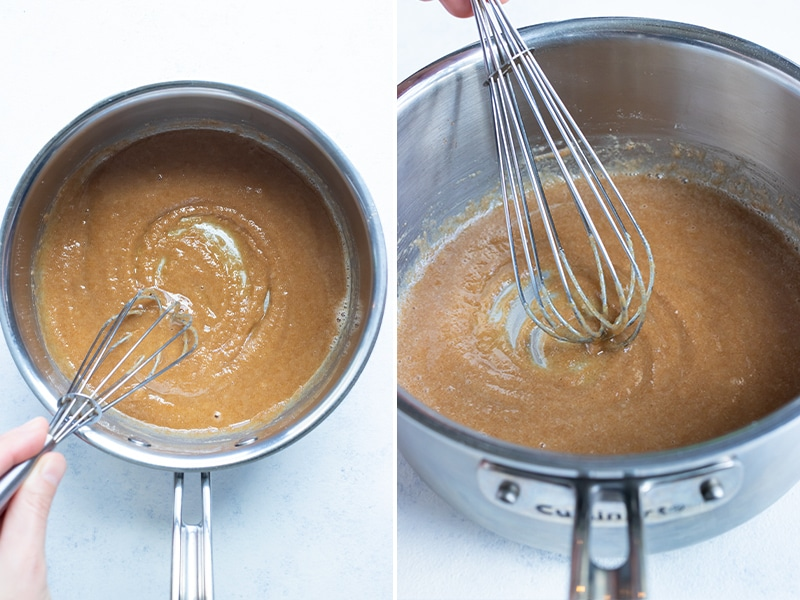 Instructional pictures show how to make a light brown roux.