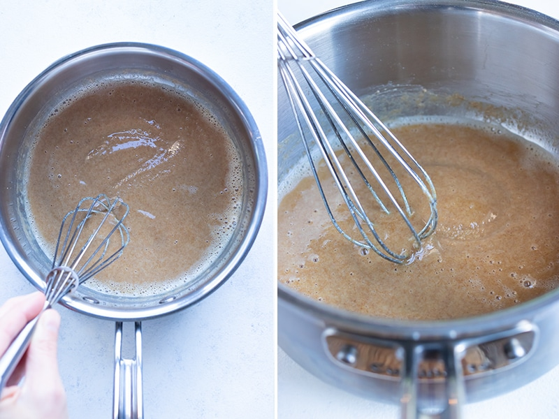 Instructional pictures show how to make a blonde roux.