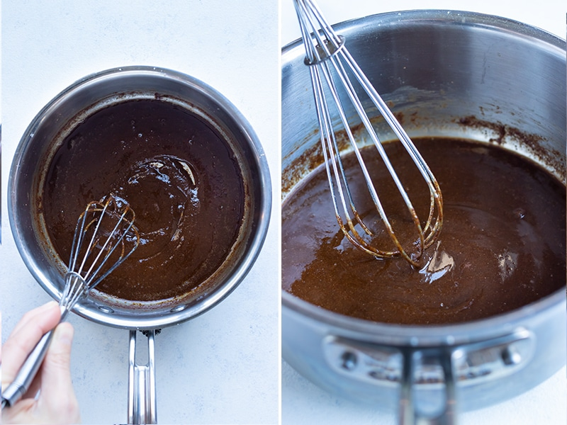 Instructional pictures show how to make a dark brown roux.