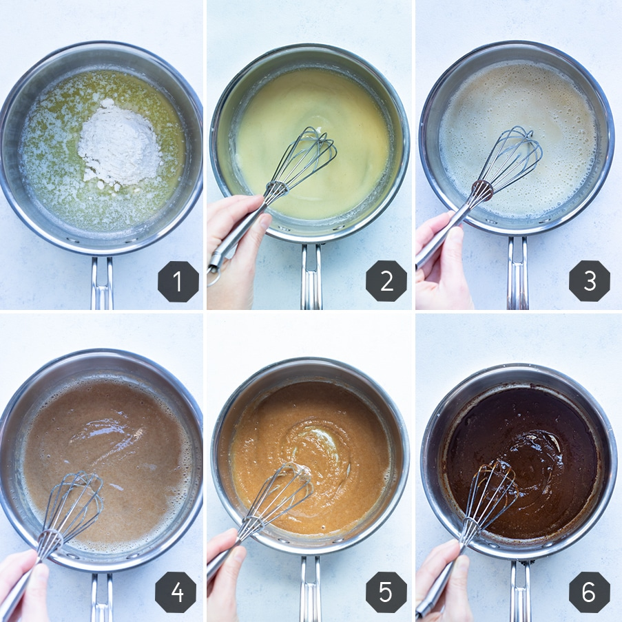 Step by step instructions for how to make different types of roux.