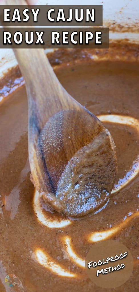 A wooden spoon is used to mix the roux.