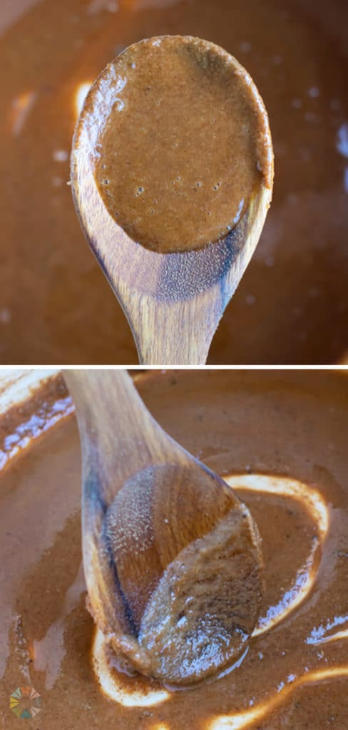 A light brown roux is stirred with a wooden spoon.