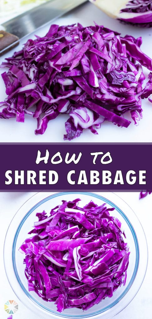 Thinly sliced red cabbage on a white cutting board with a wedge and a knife in the background.