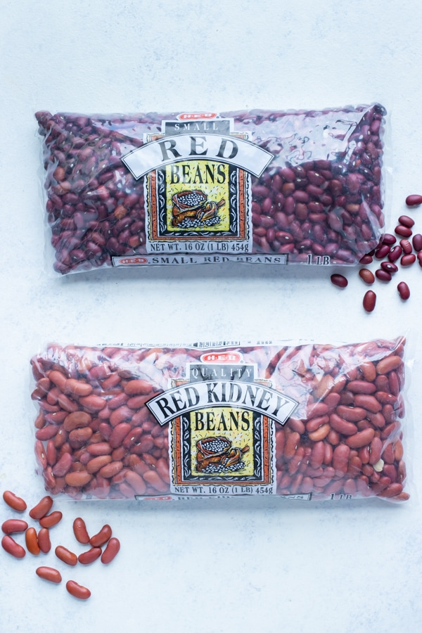 Red beans and kidney beans are shown.
