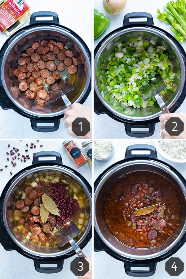Instructional pictures show how to make instant pot red beans and rice.