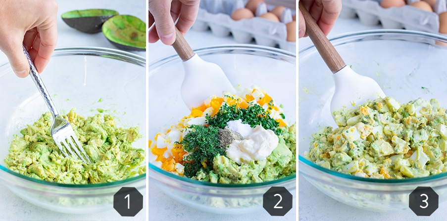 Instructional pictures for how to make avocado egg salad recipe.