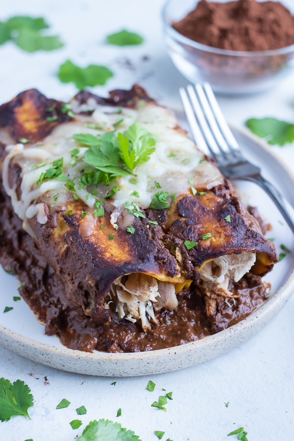 A serving of chicken mole enchiladas are served with a fork on a white plate.