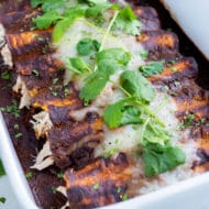 A pan of chicken mole enchiladas are shown on the counter.
