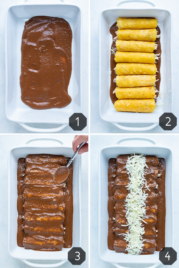 Step by step instructions for how to make Chicken Mole Enchiladas.