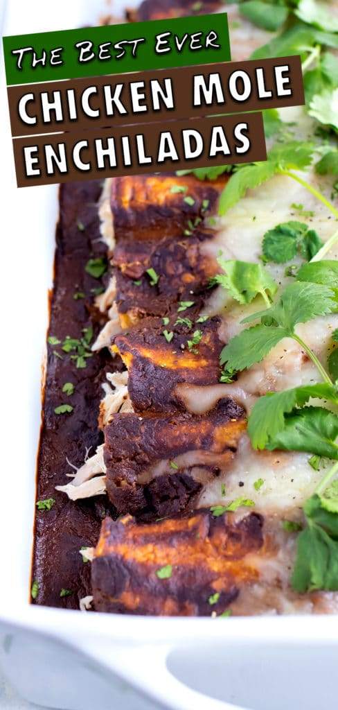 Chicken mole enchiladas are served for an easy Mexican meal.